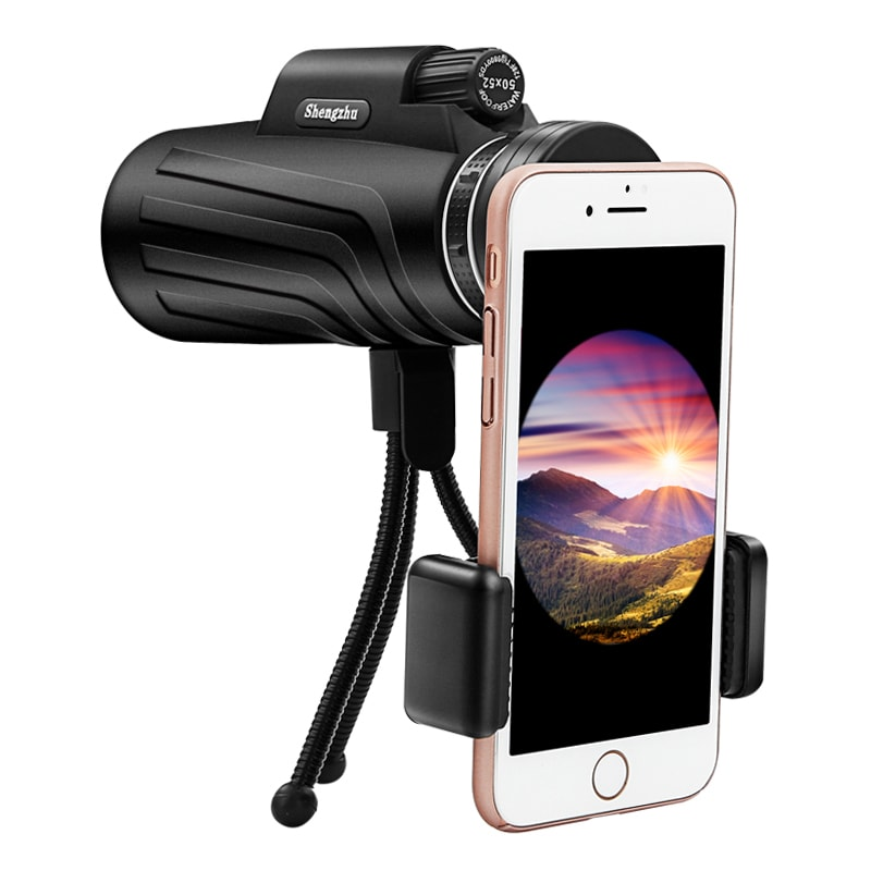 50x52 Monocular Scope with Smartphone Adapter and Tripod