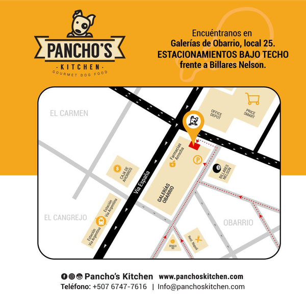 Dirección del local de Pancho´s Kitchen