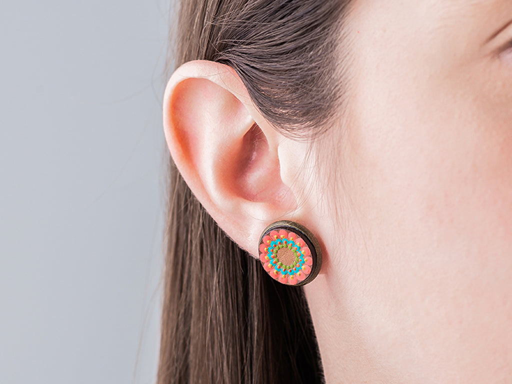 Buy Costa Rican Typical Oxcart Earrings-Orange from CAURI.AS available at Local Keeps from Costa Rica