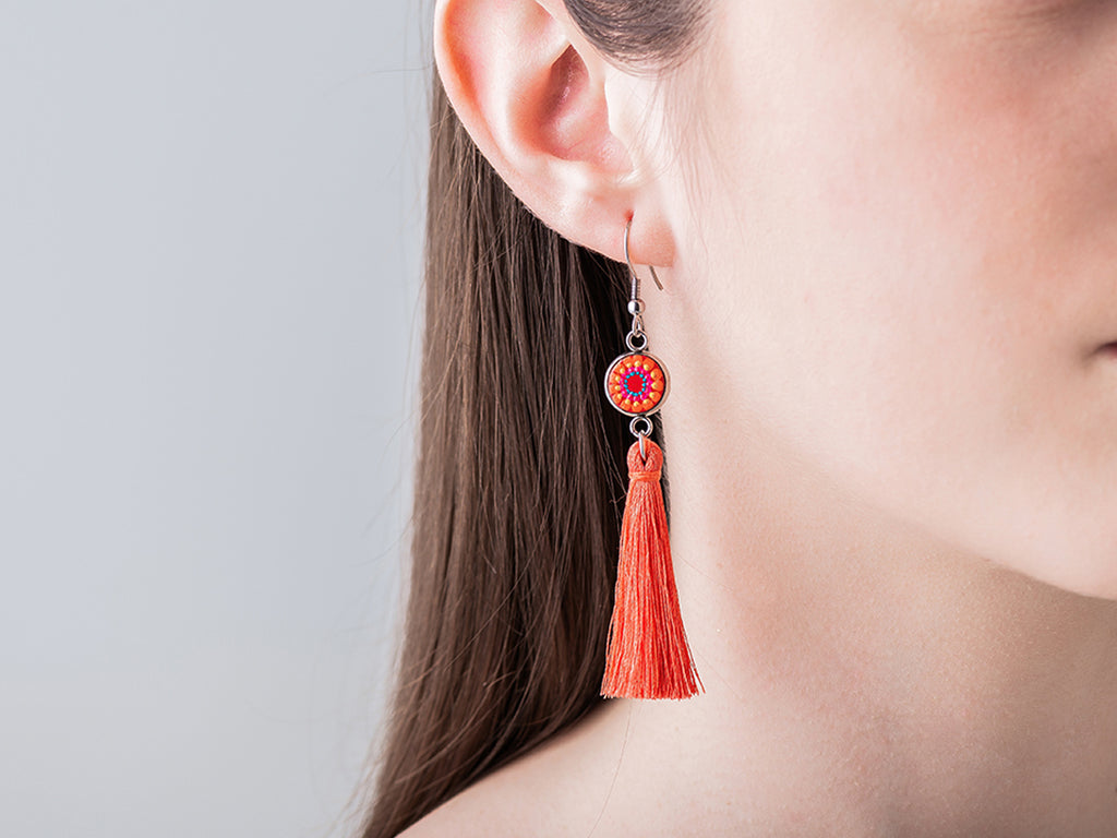 Oxcart red fringe earrings