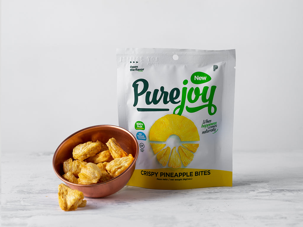 Buy Crunchy Dehydrated Pineapple from Pure Joy available at Local Keeps from Costa Rica
