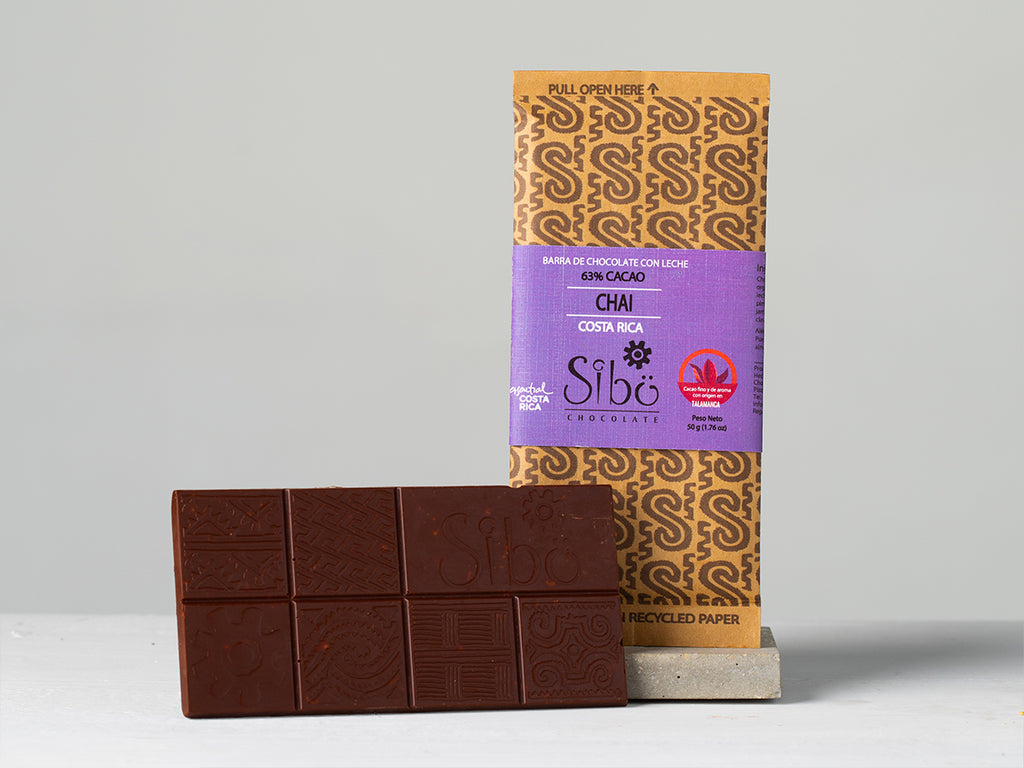 Buy Organic 63% chai chocolate bar from Sibu available at Local Keeps from Costa Rica