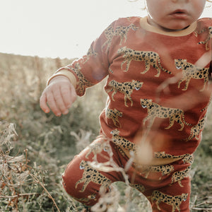 Burgundy leopard (Mustard Cuffs) Baby & Child Sweater