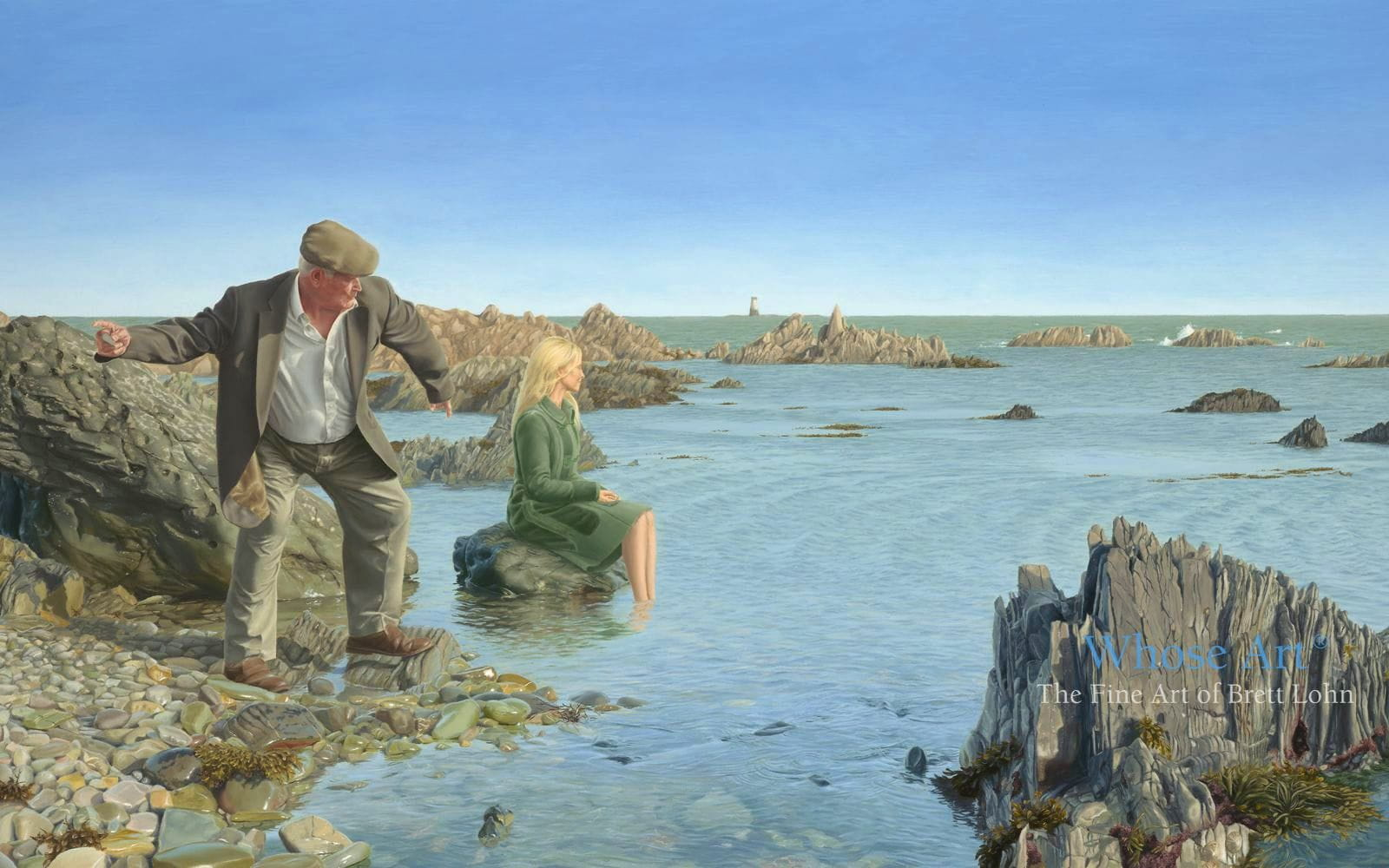 Art that tells a story of an elderly man by the sea casting his cares upon the water, skimming a stone youthfully
