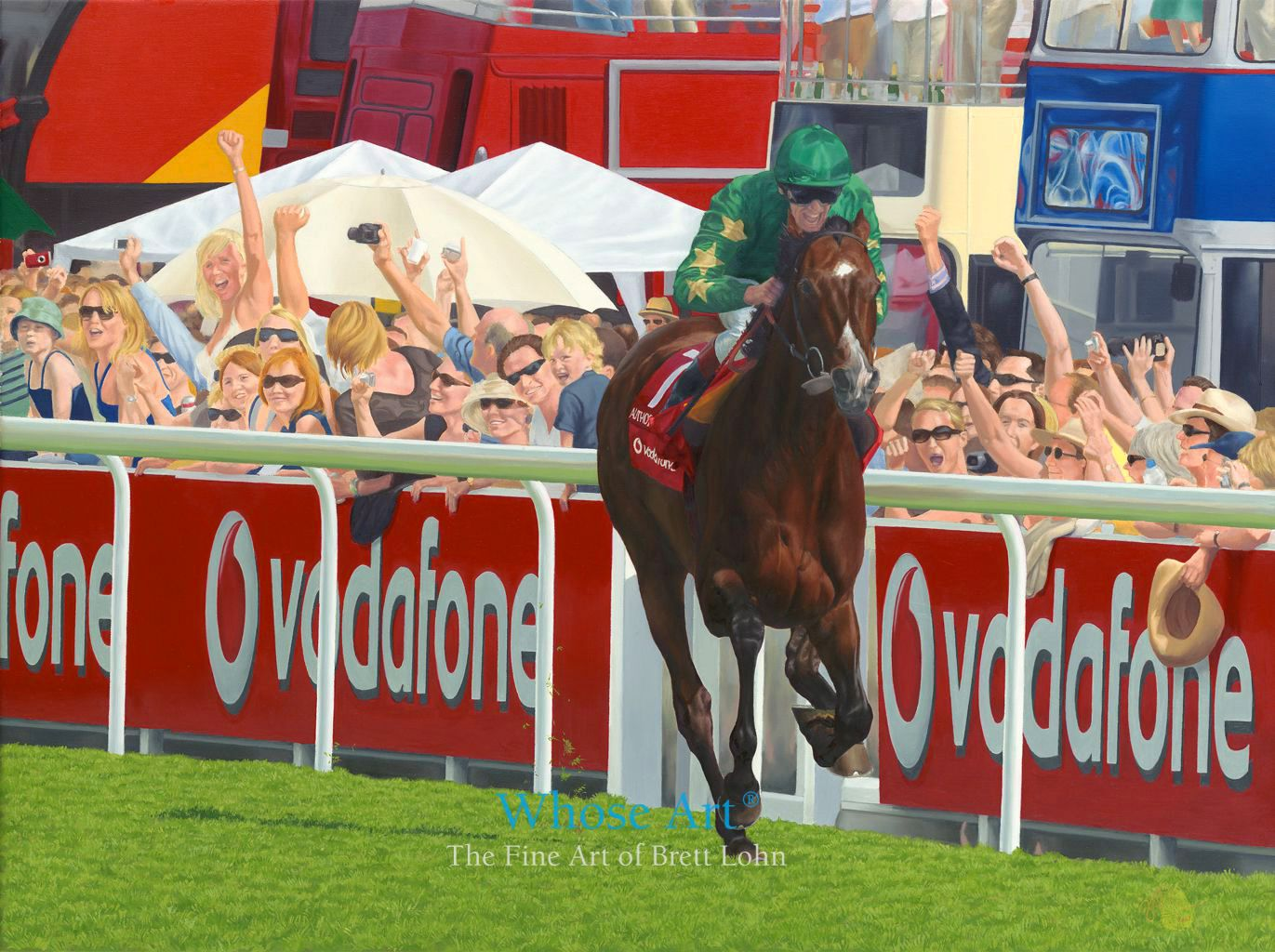 Epsom Derby Oil painting of Frankie Dettori winning the Derby on Authorized. The crowd cheers behind him as Dettori wins