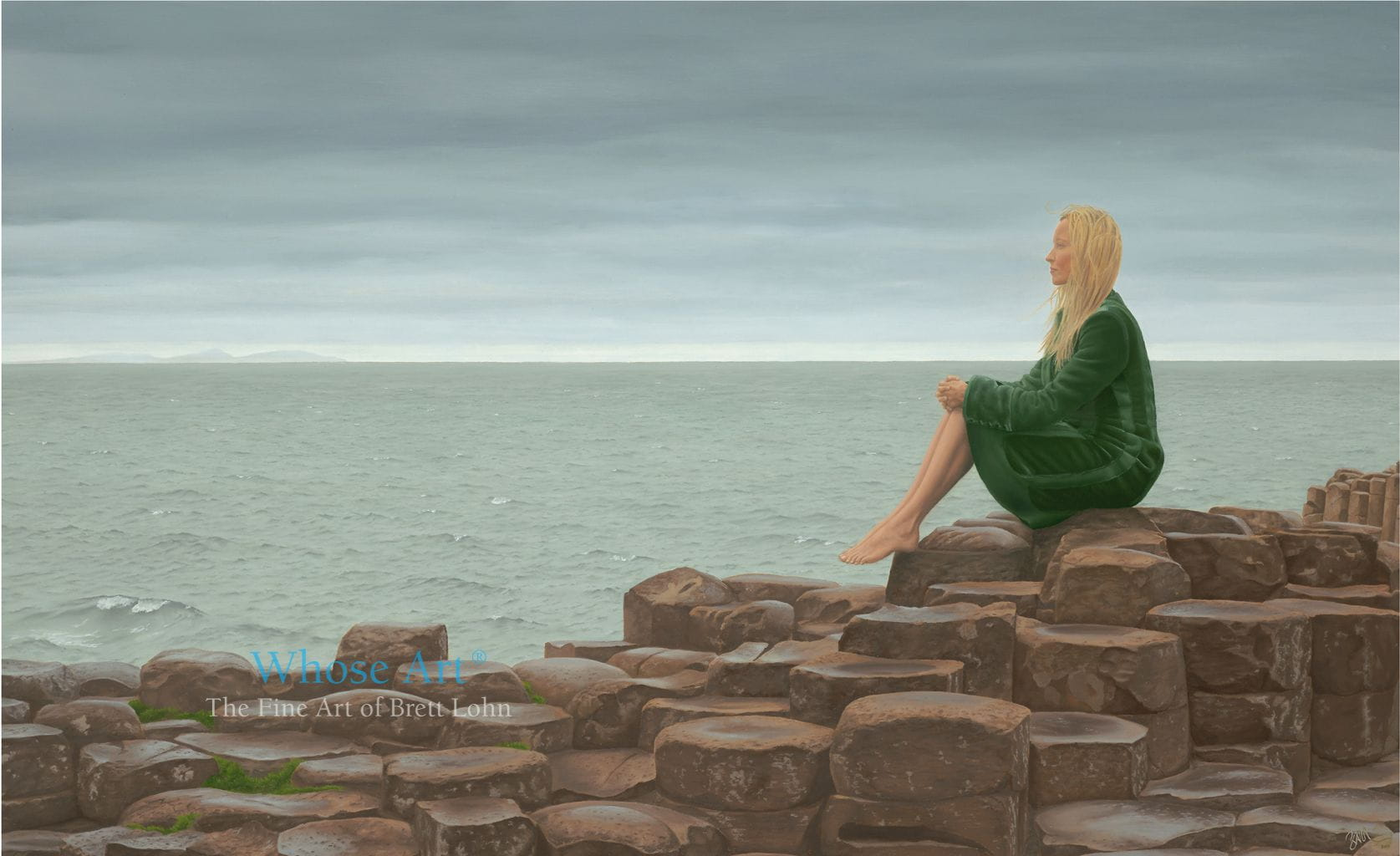 Giant's Causeway oil painting showing a young woman sitting on the rocks of the Giant's Causeway as a storm clears.