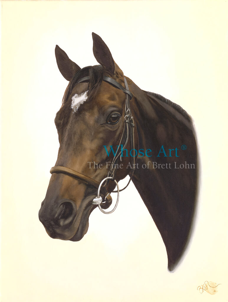 Racehorse Head and neck painted in oil on canvas
