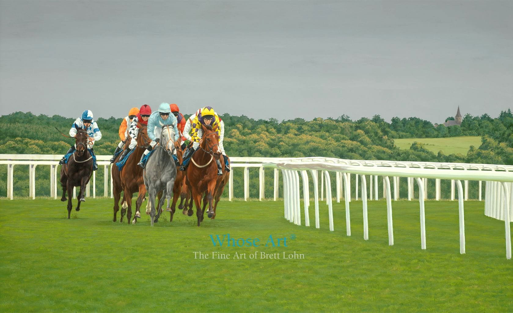 Horse racing art painting of a group of racehorses racing in the evening at Epsom with a stormy backdrop near tattenham