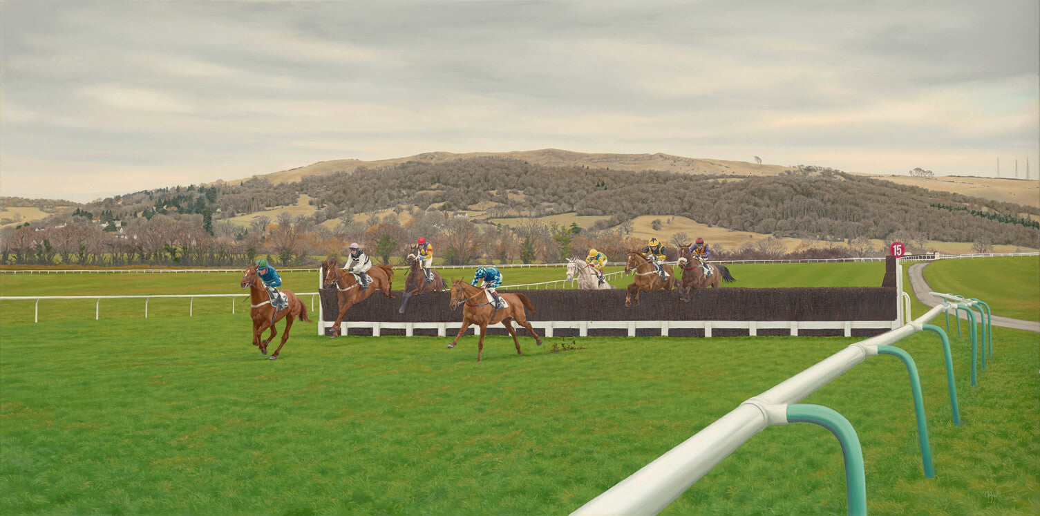Horse racing painting of horses at Cheltenham Racecourse. The oil painting shows horses jumping a fence together racing.