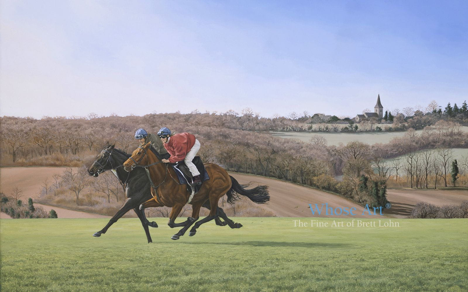 Horses galloping art oil painting of 2 horses in training galloping with jockeys up. Beautiful hills & a church behind