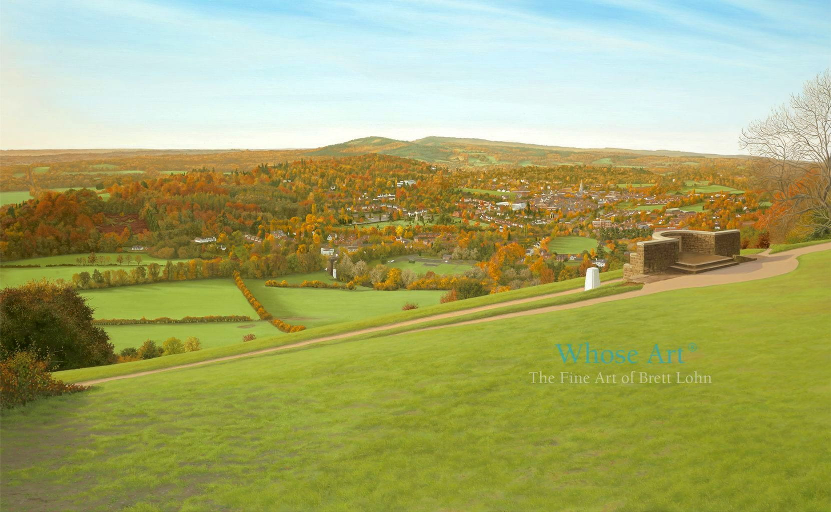Landscape oil painting of Box Hill, painted in oils on canvas. the view from the top of Box Hill across Surrey in autumn