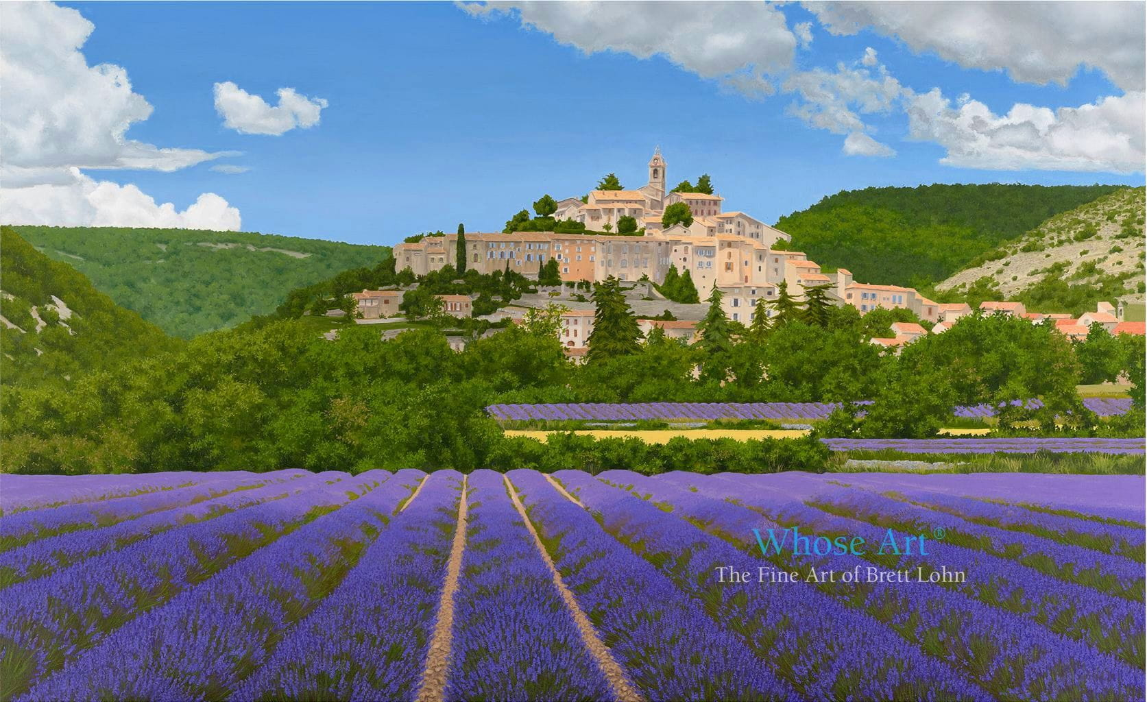 Lavender fields and village oil painting showing the old french village of Banon surrounded by fields of lavender