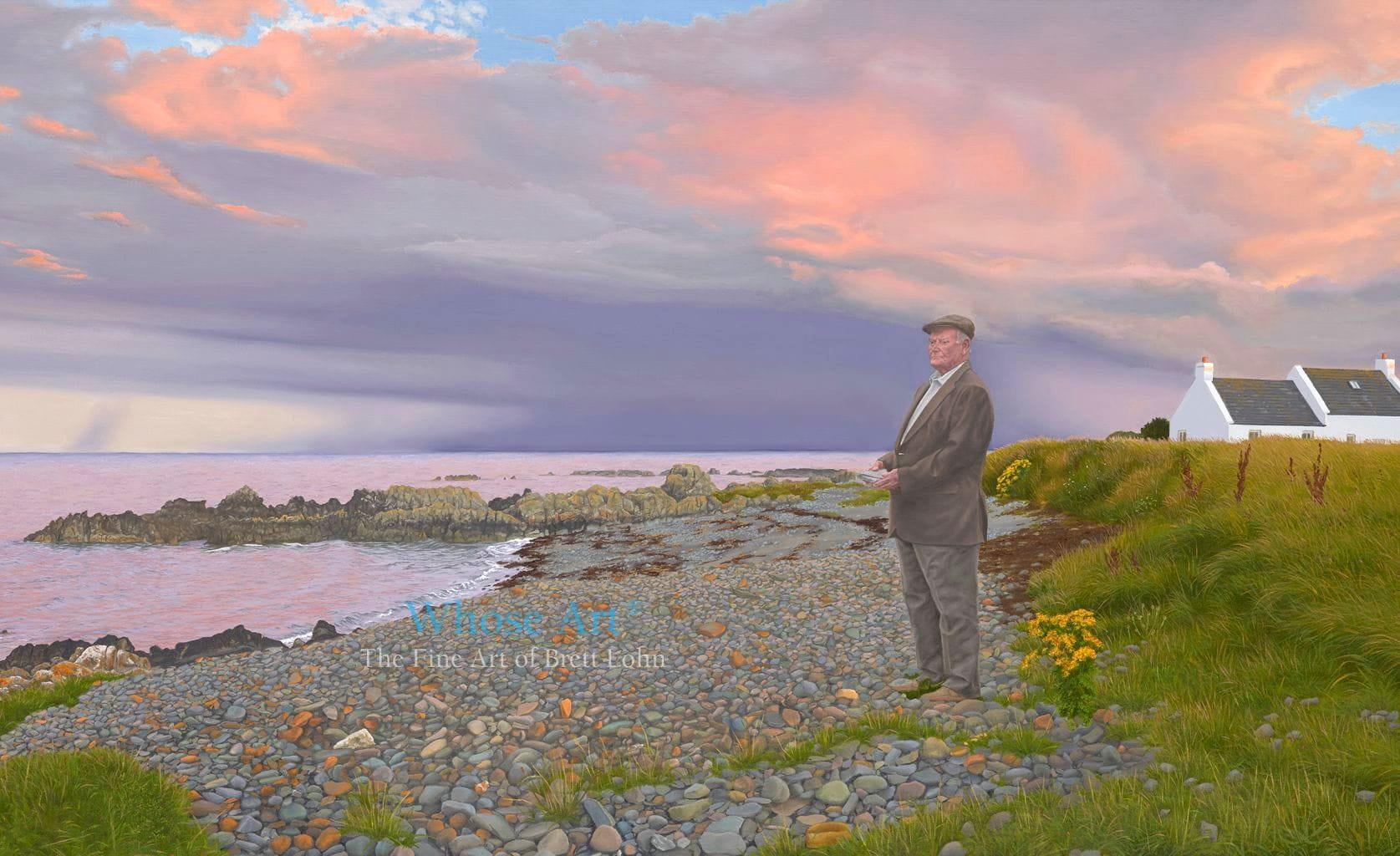 Mystic art oil painting of an elderly man on the beach, beneath a stormy sunset sky, he is holding a heavy stone