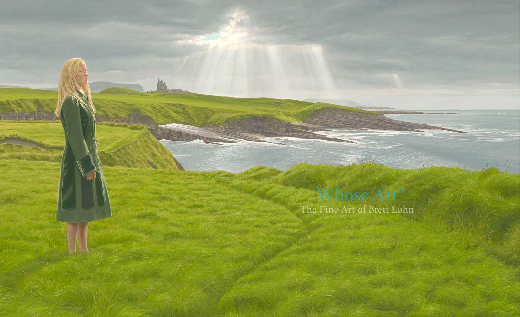 Mystical painting of a lady in a vlevet green coat standing on cliffs overlooking the Atlantic near Classiebawn Castle