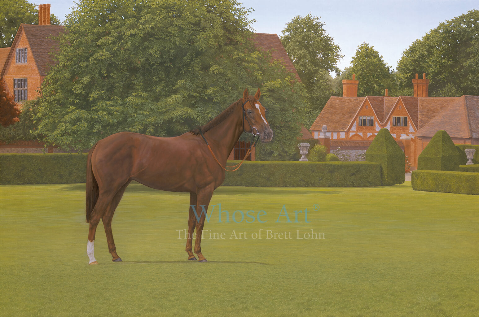 Horse Art painting of a racehorse in the grounds of a country house