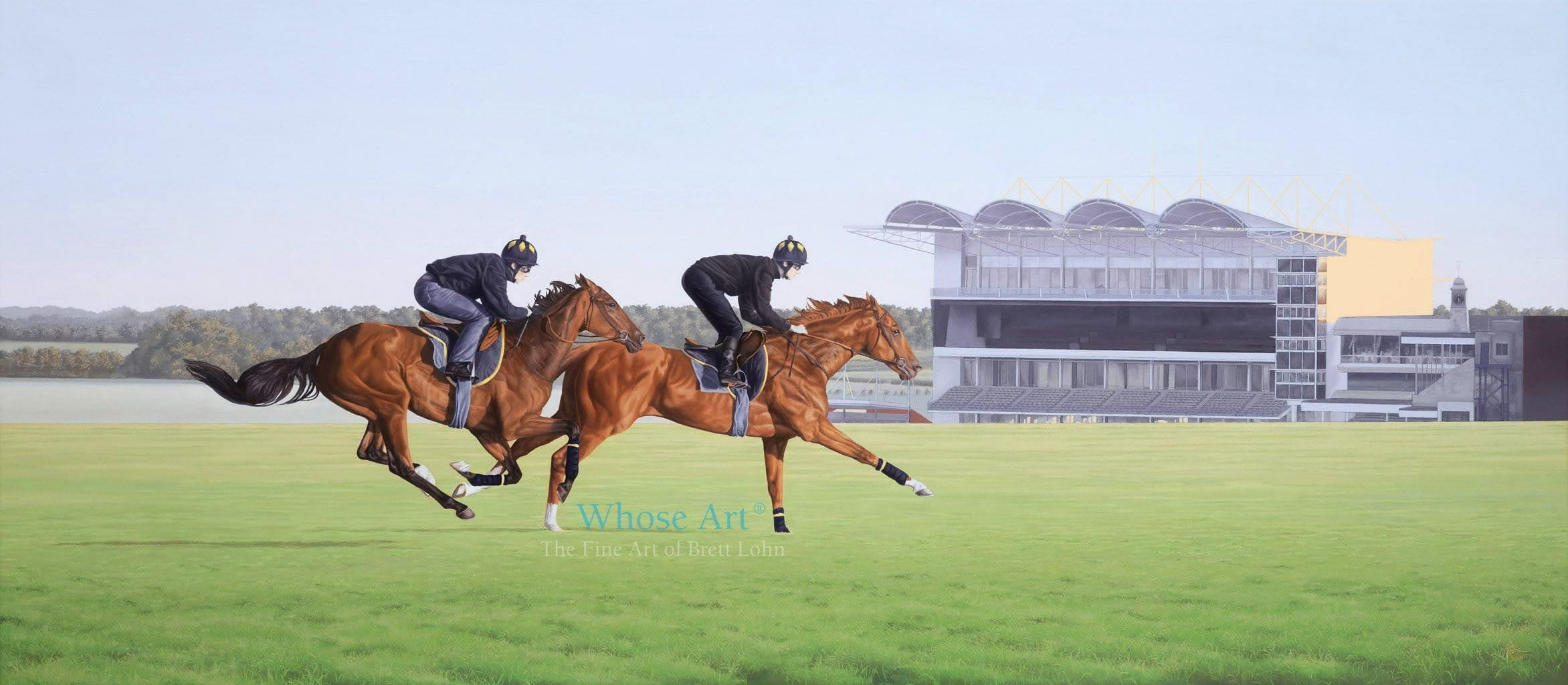 Racehorse art oil painting of two thoroughbreds galloping at Newmarket at sunrise with the millenium grandstand nearby.