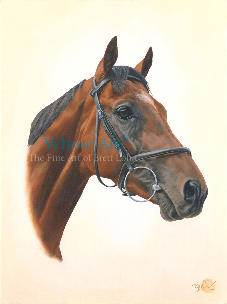Oil Painting of the Head and Neck of a racehorse