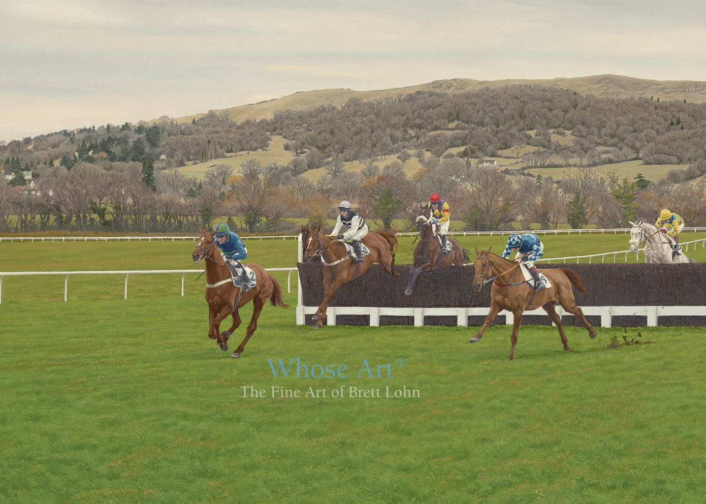 Cheltenham Racecourse Art Card featuring a painting of horses jumping a fence at Cheltenham with Cleeve Hill nearby