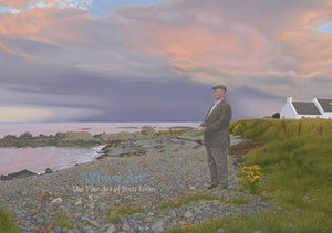 Art greeting card featuring a painting of a man on a rocky beach at dusk as a storm approaches. The card is blank inside