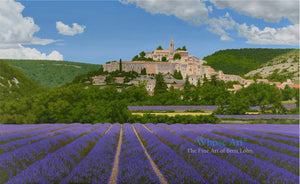 Art Greeting Card featuring an oil painting of lavender fields in France around an old village perché with hills behind