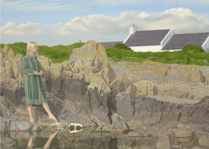 Art greeting card of a blonde haired woman in a green coat, standing on a rocky shore with her foot pointed toward a stone.