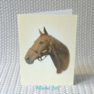 Bay horse art greeting card with a portrait of a horse's head on the front. The painting shows the bay's ears pointing
