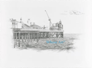 Black and white art print of Brighton showing the Palace Pier fairground viewed from the shore. Drawn in pencil on paper.