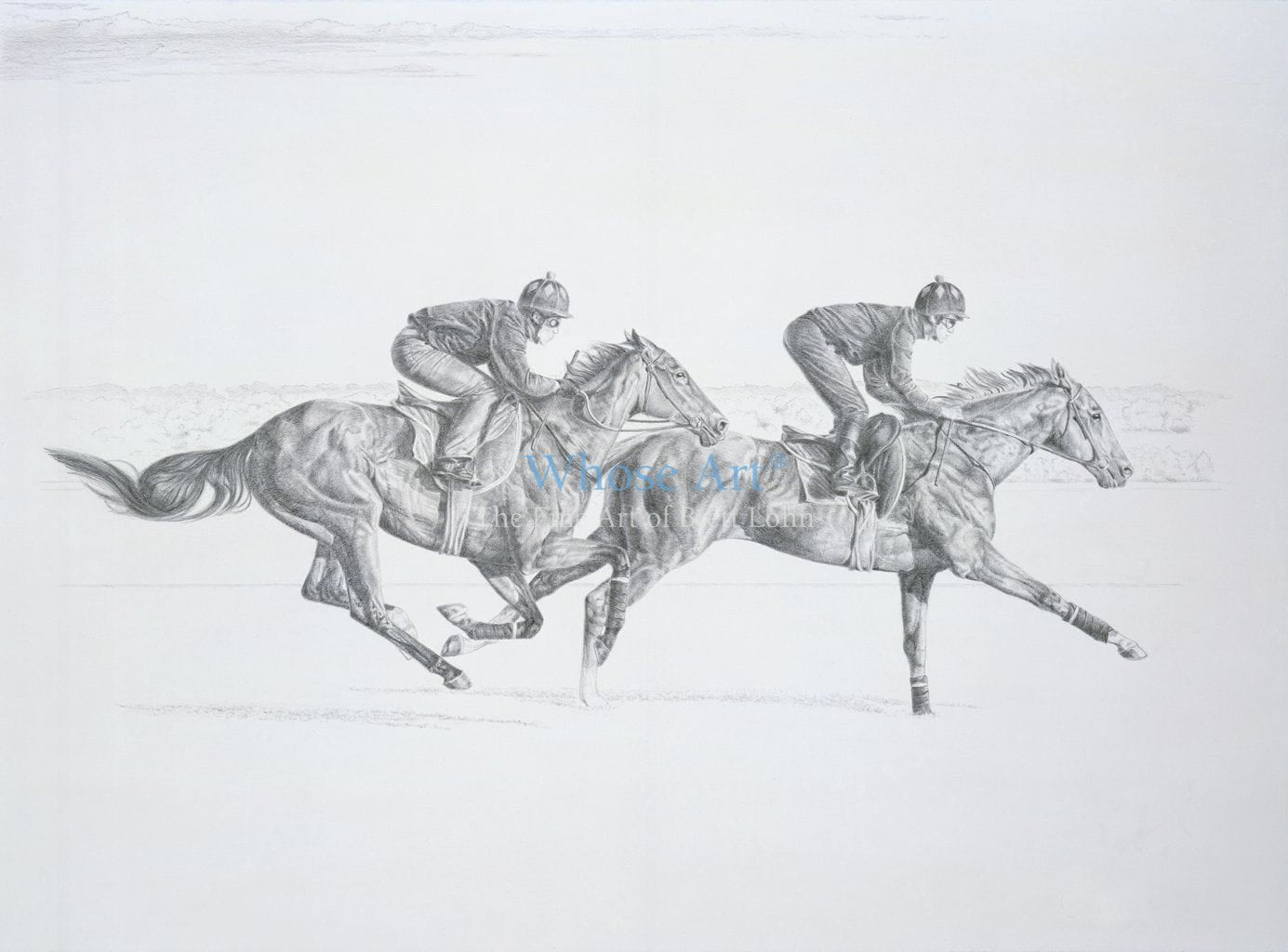 Black and white horse art drawing of racehorses galloping together in training. Drawn in pencil, the lead horse is a grey.