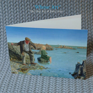 Fine art greeting card shows a painting of a man in a cap on a beach, beneath a blue sky skimming a stone - Blank inside