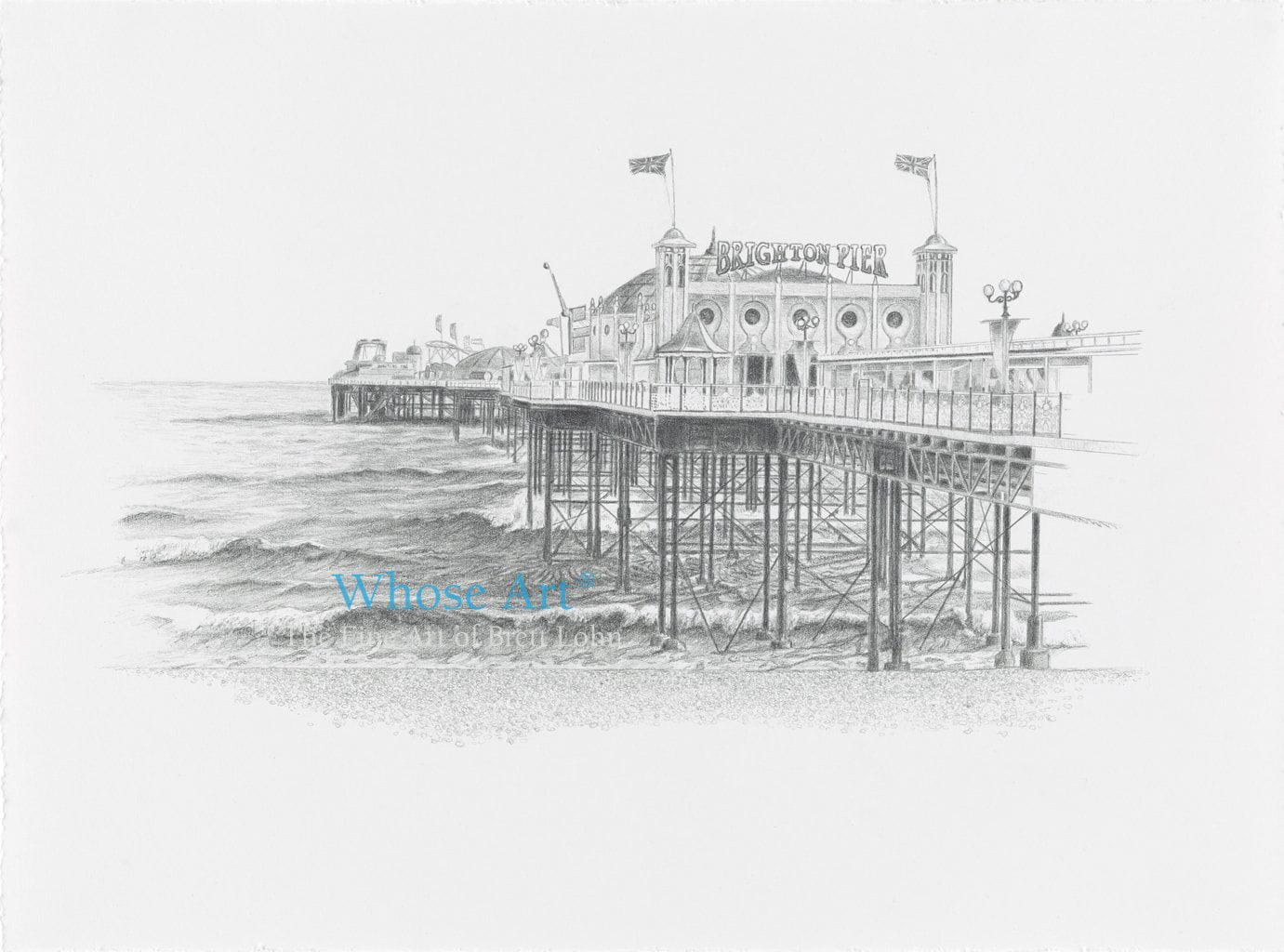 A pencil drawing of Brighton Pier shown viewing the front of the palace pier. This is a delicately shaded piece of pencil art