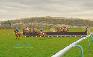 Cheltenham Racecourse art painting showing the horses jumping the third fence from home with Cleeve Hill in the background.