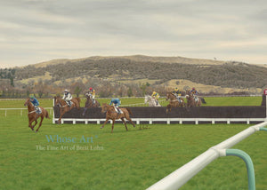 Cheltenham racing art card showing a painting of horses racing at cheltenham with Cleeve Hill behind. Painted in oils.