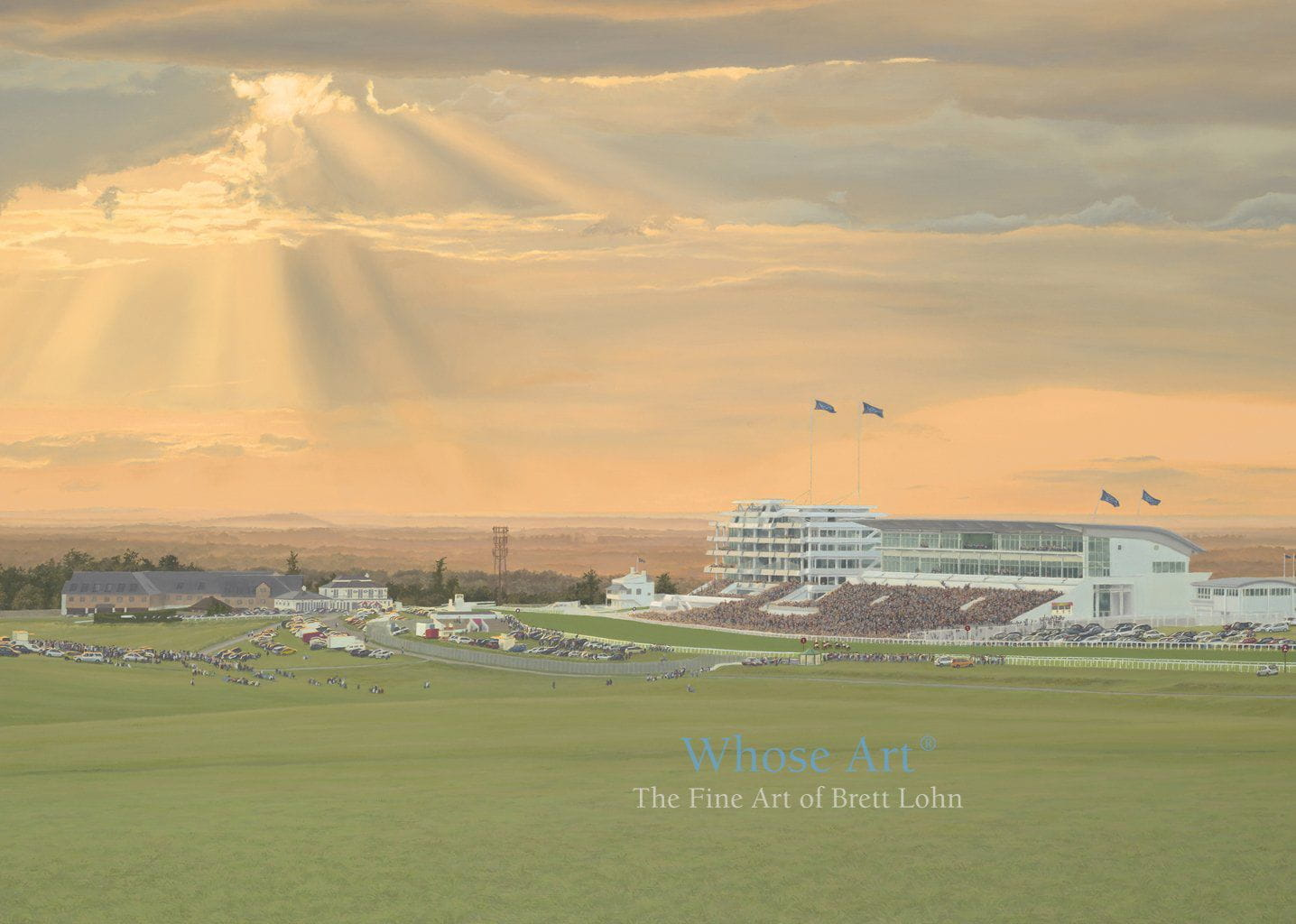 Epsom Derby greeting card of an oil painting of a race at Epsom Downs Racecourse beneath a stormy sunset sky with rays of sunlight. A dramatic greeting card.