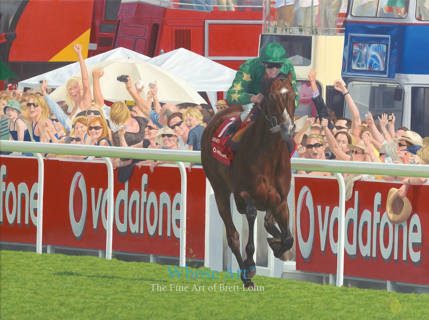 Epsom derby painting showing the Derby finish of Frankie Dettori and Authorized with the crowd celebrating wildly behind them