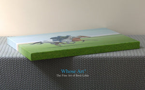Equestrian art Canvas gallery wrap print of a painting of racehorses exercising on the gallops. Canvas lies flat on a table.