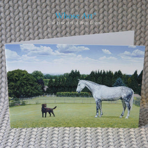 Equestrian Art Greeting Card of a painting of a horse and dog standing together in a field in the summer.