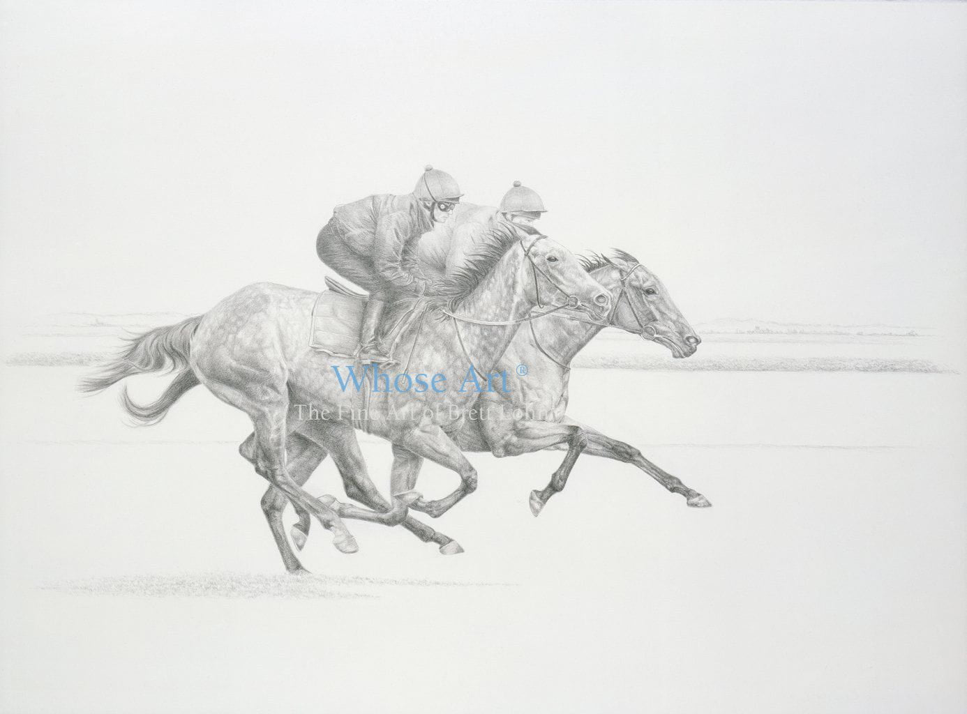 Equestrian Art drawing shown online of a grey and bay horse on the gallops drawn in pencil and shaded in detail.