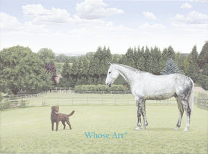 Equestrian Greeting Card featuring a painting of a grey horse and chocolate labrador in a field looking at each other.
