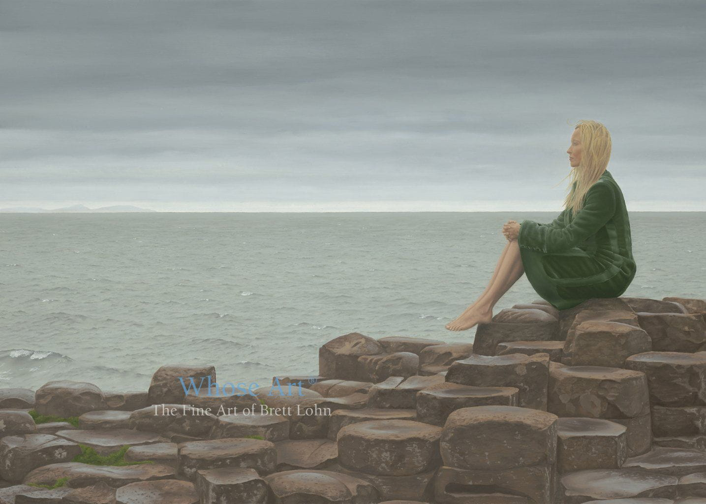 Fine art card size A5 of a painting depicting a young lady dressed in a green velvet coat, sitting on Giant's Causeway