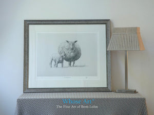 Framed sheep print of a pencil drawing of a sheep and newborn lamb together. Framed in silver and placed on a table by a lamp