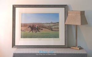 Framed Galloping horse wall art print of two horses in training on the landscape of Epsom Downs in the early spring Sunshine.