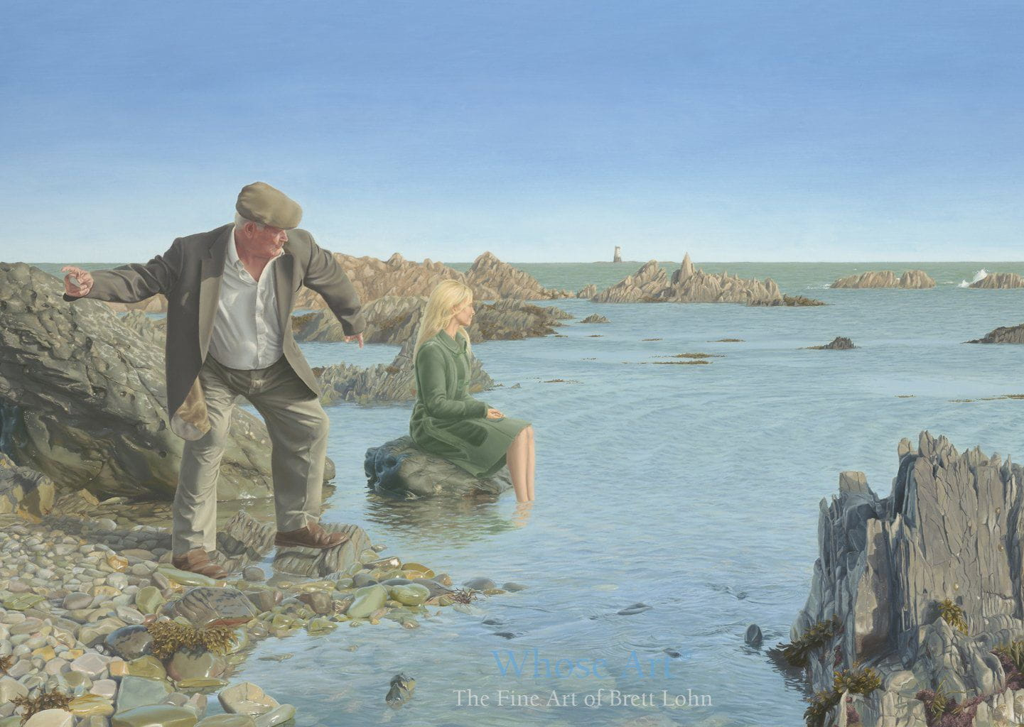 Greeting card of a painting of a retired man skimming stones across a shallow bay in Ireland. The card is blank inside