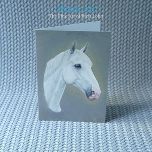 Grey horse art greeting card showing an oil painting of a grey horse with a beautiful eye and a charming nose