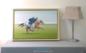Grey Horse canvas wall art print of a painting depicting racehorses working on the gallops. Displayed in an interior design.
