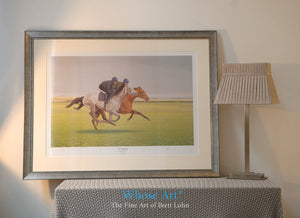A framed example of a horse art print showing a grey horse on the gallops with a bay horse galloping alongside.
