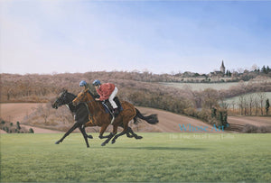 Horse Art canvas print of two horses galloping across Epsom Downs in the Spring sunshine. Originally painted in oil on canvas