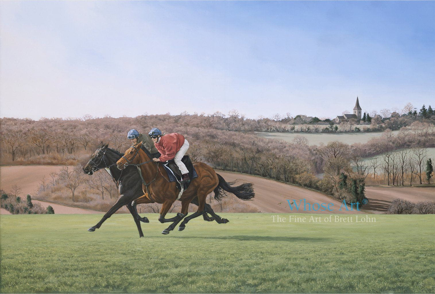 Horse Art Card of an oil painting of two horses galloping on Epsom Downs in the early spring morning sunshine.