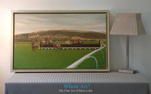 Horse Art canvas print of racing at Cheltenham. Painting depicts horses jumping the 13th fence. Framed in an interior setting