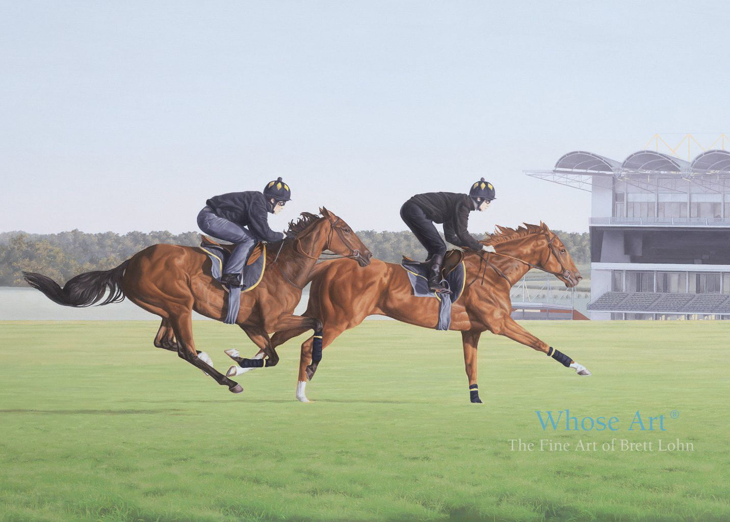 Horse Art Greeting Card showing a painting of a pair of horses galloping on Newmarket Heath at sunrise with jockeys up.