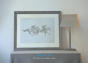 Framed horse art pencil drawing of two horses on the gallops with jockeys on board. Both horses are bay racehorses.